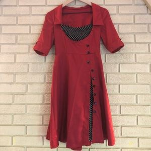 Dresses & Skirts - Vintage Dark Red Dress with Polka Dot Details
